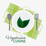 Vegetarian cuisine organic and healthy food design. Plate leaf and cutlery icon. Vegetarian cuisine organic and healthy food theme. Colorful design. Vector Stock Photography