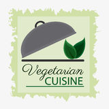Vegetarian cuisine organic and healthy food design. Plate and leaves icon. Vegetarian cuisine organic and healthy food theme. Colorful design. Vector Royalty Free Stock Photos