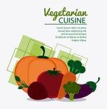 Vegetarian cuisine organic and healthy food design. Red onion tomato pumpkin carrot broccoli eggplant icon. Vegetarian cuisine organic and healthy food theme Stock Image