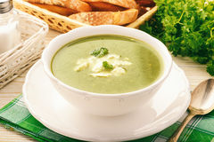 Vegetarian Cuisine - Spinach Cream-soup With Feta Cheese.