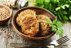 Vegetarian cutlets of  buckwheat Royalty Free Stock Photo