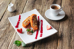 Vegetarian dessert.  Carrot apple roll  and coffee Stock Photography