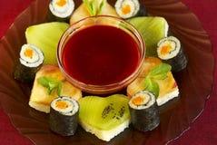 Vegetarian dessert sushi Stock Image