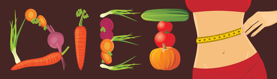 Vegetarian diet. Banner. Vegetarian diet. Abstract banner. Illustration Royalty Free Stock Photo