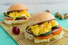 Vegetarian Diet burgers with sweet omelette and vegetables. Royalty Free Stock Images