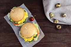 Vegetarian Diet burgers with sweet omelette and vegetables Stock Photo