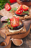 Vegetarian Diet Crispbread sandwiches Royalty Free Stock Photography