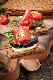 Vegetarian Diet Crispbread sandwiches Royalty Free Stock Image