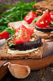 Vegetarian Diet Crispbread sandwiches Stock Photos