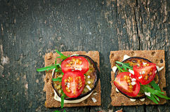 Vegetarian Diet Crispbread sandwiches Stock Image