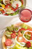 Vegetarian diet and red wine Royalty Free Stock Images