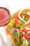 Vegetarian diet and red wine Royalty Free Stock Image