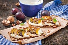 Vegetarian Diet sandwiches Crispbread Royalty Free Stock Images