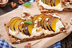 Vegetarian Diet sandwiches Crispbread Royalty Free Stock Photos