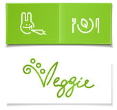 Vegetarian diet symbols. On green card and hand-written letterhead Stock Photos