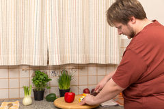 Vegetarian diet for a young thick man Stock Photos