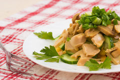 Vegetarian dinner mushroom salad. With vegetables Royalty Free Stock Images