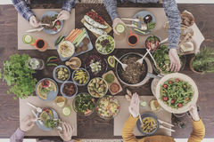 Vegetarian dinner party gathering Royalty Free Stock Images