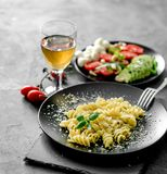 Vegetarian Dinner: Pasta With Parmesan Cheese And Vegetables Stock Images