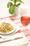 Vegetarian dinner with a serving Royalty Free Stock Photo