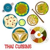 Vegetarian dinner of thai cuisine sketch icon Stock Images