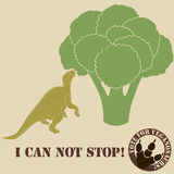 Vegetarian dinosaur. Eating a veg and he likes it Stock Photos