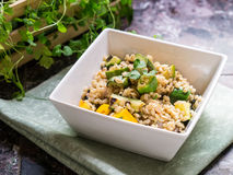 Vegetarian Dish - Barley and Grilled Vegetables Royalty Free Stock Image