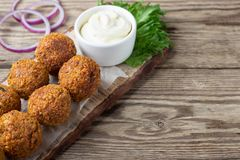 Vegetarian dish - falafel balls from spiced chickpeas royalty free stock image