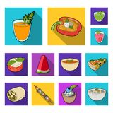 Vegetarian dish flat icons in set collection for design.Vegetable and milk food vector symbol stock web illustration. Stock Photography