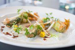 Vegetarian dish of fried Zucchini flowers. Arranged on white plate in a restaurant Stock Photos