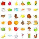 Vegetarian dish icons set, cartoon style Stock Image