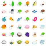 Vegetarian dish icons set, isometric style Royalty Free Stock Photo