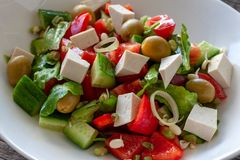 Vegetarian dish: Salad with Tofu cheese, with cucumbers, onions royalty free stock photo