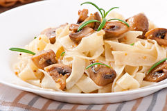 Vegetarian dish with tagliatelle and mushrooms Royalty Free Stock Image