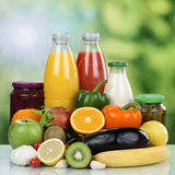 Vegetarian eating fruits, vegetables and orange juice drink Royalty Free Stock Photography