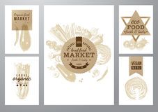 Vegetarian and eco friendly vegetable backgrounds with labels Royalty Free Stock Photos