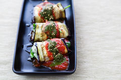 Vegetarian eggplant canneloni Royalty Free Stock Images