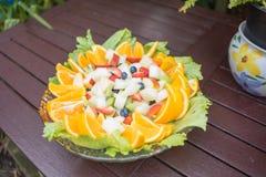 vegetarian för sallad för porslin för apelsiner för matfruktdruvor Royaltyfri Bild