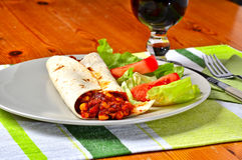 Vegetarian fajitas. Mexican food in wrap stock photography