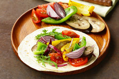 Vegetarian fajitas wheat tortilla with grilled vegetables Stock Photography