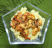 Vegetarian Fake Chicken and Vegetable Pasta Royalty Free Stock Images