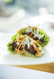 Vegetarian falafel and salad in pita bread sandwich Royalty Free Stock Images