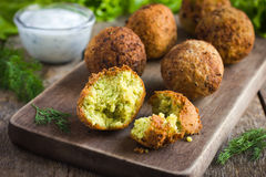 Vegetarian falafel with tzatziki sauce stock photography