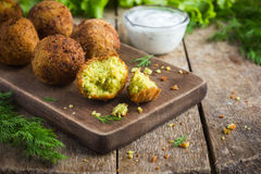 Vegetarian falafel with tzatziki sauce royalty free stock image