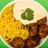 Vegetarian Falafels With Noodles And Hummous Royalty Free Stock Images