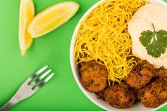 Vegetarian Falafels With Noodles And Hummous Royalty Free Stock Photos