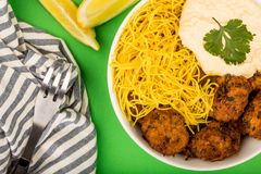 Vegetarian Falafels With Noodles And Hummous Stock Images