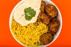 Vegetarian Falafels With Noodles And Hummous Royalty Free Stock Photography