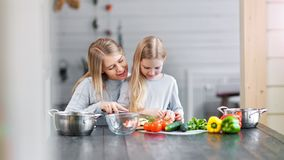 Vegetarian family is cooking a dinner with fresh organic vegetables. Mom and daughter are cooking and having fun together stock video footage