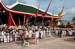 Vegetarian Festival Chinese temple. Picture taken in Phuket October 2010 during Vegetarian Festival. People on vegetarian dressed in white, meaning they follow Royalty Free Stock Photo